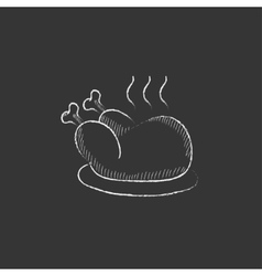 Baked whole chicken drawn in chalk icon vector