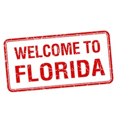 Welcome to florida red grunge square stamp vector
