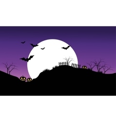 Halloween bat on purple sky backgrounds silhouette vector