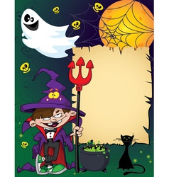 Halloween wizard boy vector