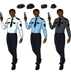 African male police officer holds taser vector