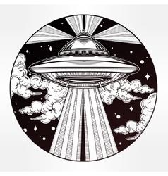 Alien spaceship ufo in the sky vector