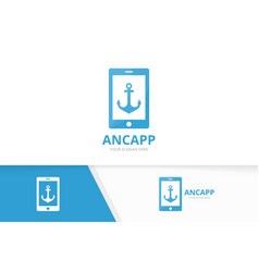 Anchor and phone logo combination marine vector