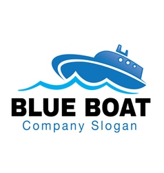 Blue boat design vector