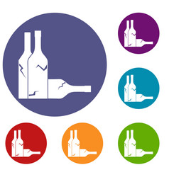 bottles icons set vector image vector image