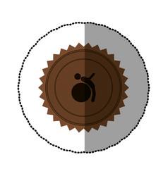 Brown emblem person do exercise gym vector