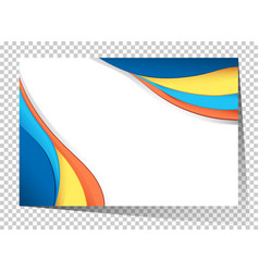 Businesscard template with blue and yellow waves vector