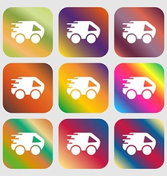 Car icon sign nine buttons with bright gradients vector