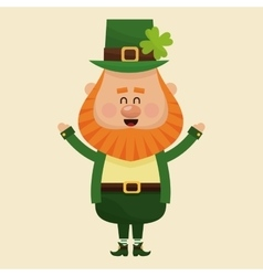 Cheerful leprechaun hands up vector