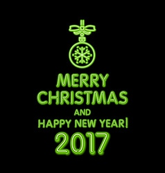 Christmas neon sign green merry christmas and vector