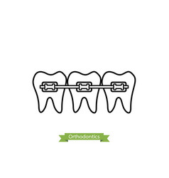 dental orthodontics treatment - cartoon outline vector image vector image