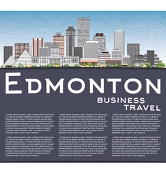 Edmonton skyline with gray buildings vector