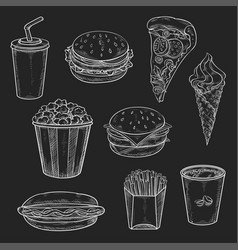 Fast food meals vecor icons set of chalk sketch vector