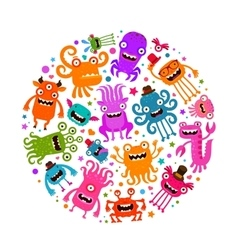 Halloween cute monsters or microbes cartoon vector