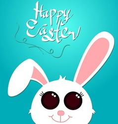 happy easter and white rabbit vector image vector image