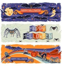 Happy Halloween grungy retro horizontal banners vector image