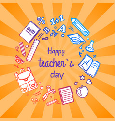 Happy teacher s day poster with school objects vector