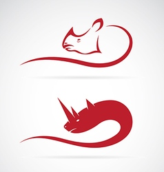 Image of rhino and rhinoceros design vector