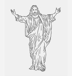 jesus christ religion sketches vector image vector image