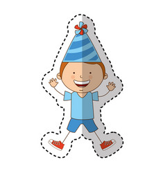 little kid with party hat icon vector image