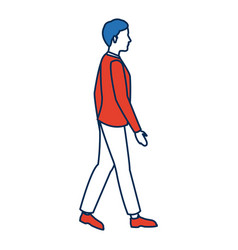 Man wear suit walking side view vector