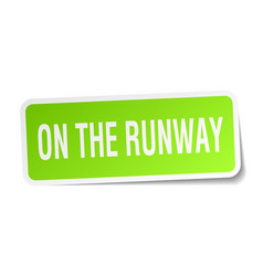 On the runway square sticker on white vector