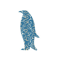 Penguin bird color silhouette animal vector