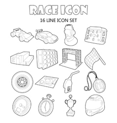 Race icons set in outline style vector image vector image