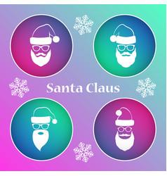 santa claus icon set vector image