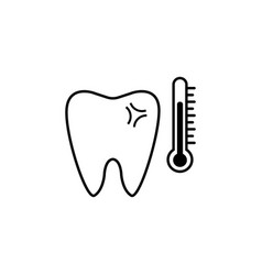 Sensitive tooth line icon vector