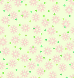 Spring flower pattern with diamonds seamless vector
