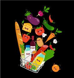 Supermarket basket vector image