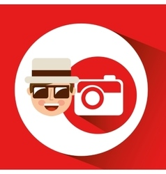 Tourist man with camera photographic vector