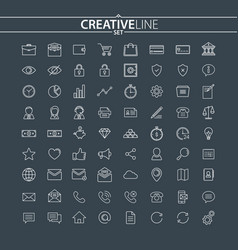 universal thin icons set vector image