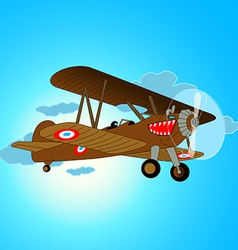 Vintage war aircraft flying in sky vector