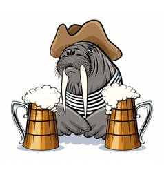 Walrus and beer vector