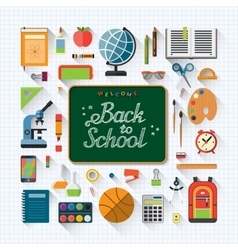 Welcome back to school flat concept background vector image