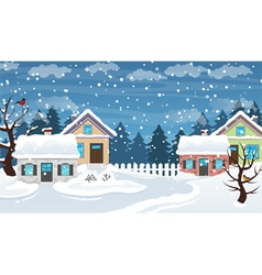 Winter village scene vector image