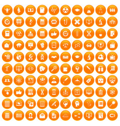 100 analytics icons set orange vector