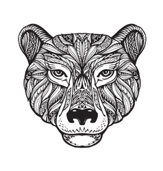 Bear Ethnic patterns Hand drawn vector image