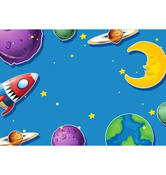 Paper design with planets and rocket vector image