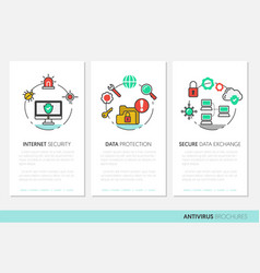 Internet security brochure linear thin icons vector