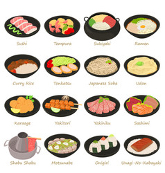 Japanese food icons set cartoon style vector