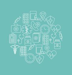 Round icon health mind vector