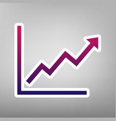 Growing bars graphic sign  purple gradient vector
