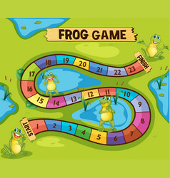 Boardgame template with frogs in pond vector