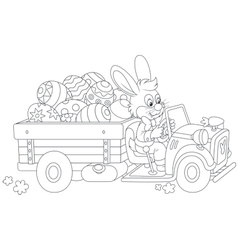 Bunny carries ester eggs vector