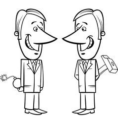 Two false businessmen cartoon vector