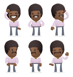 Set of disco man character in different poses vector