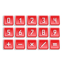Red numeric button set vector